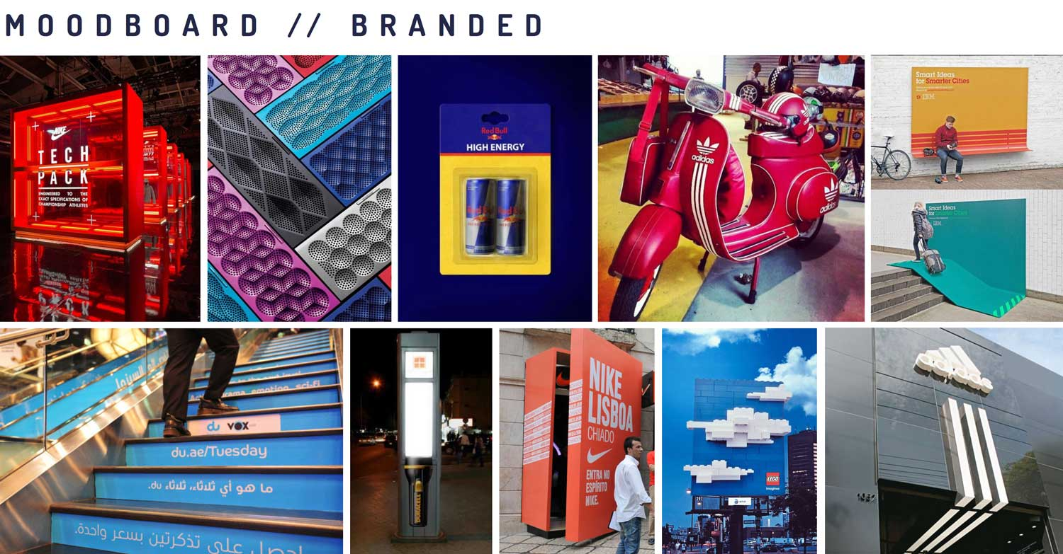 Moodboard showing the third design theme: Brand