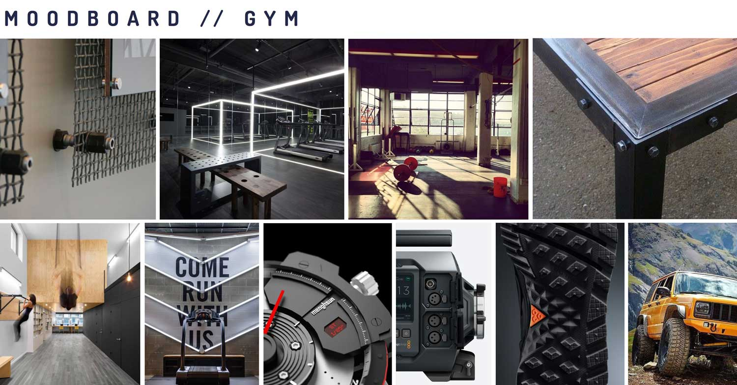 Moodboard showing the second design theme: Gym