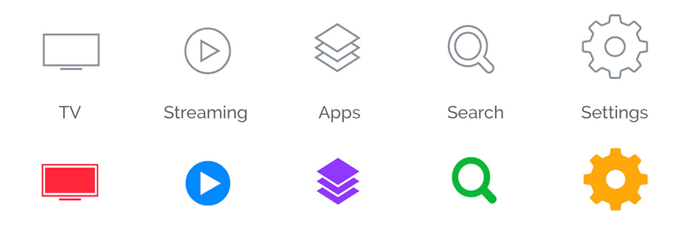 A simple set of icons for each of the main sections of the UI.